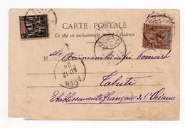 !!! DOS DE CARTE POSTALE OBLIT REUNION POUR TAHITI 1904, TRANSIT A ADEN - Reunion Island (1852-1975)