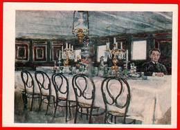Salle à Manger Bateau à Vapeur Café Restaurant Table Alcool Verre à Vin Vodka Lampe à Pétrole 1977 Peinture - Cafés