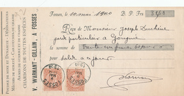 DDW583 - Reçu TP Fine Barbe FOSSES 1900 Vers GOUGNIES - Entete Warnant-Gillain , Armes , Cartouches , Poudre - 1893-1900 Barba Corta