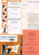 Lot établissement Industriels D. Soulé Bagnèred De Bigorre Courrier Pub Appareillage Fusible Livret De Tarif J Sept 1955 - Publicités