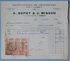FACTURE 87 LIMOGES RUE D'AUZETTE MANUFACTURE DE CHAUSSURES DUPUY ET MISSOU ANNEE 1932 - Textile & Vestimentaire
