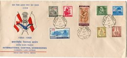 INDE ENVELOPPE 1er JOUR 1954-1968 INTERNATIONAL CONTROL COMMISSIONS CAMBODIA LAOS VIETNAM...... OBL. FIELD POST 2 OCT 68 - FDC