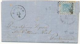 1867 ODERZO  TREVISO CERCHIO TIPO LOMBARDO VENETO + NUMERALE A PUNTI SU LETTERA CON TESTO DA GORGO - 1861-78 Vittorio Emanuele II