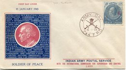 INDE ENVELOPPE 1er JOUR SOLDIER OF PEACE INDIAN ARMY POSTAL SERVICE WITH THE INTERNATIONAL.......OBL. ARMY DAY 15-1-65.. - FDC