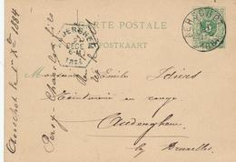 DDW592 - Cachet Hexagonal De La Gare D' AUDERGHEM 1884 S/ Entier Postal Expédié D' AERSCHOT - PEU COMMUN - Railway