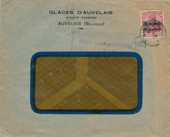 DDW594 - Enveloppe TP Germania AUVELAIS - Censure Namur - Entete S.A. Glaces D' Auvelais - WW I