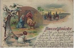 FROHLICHE WEIHNACHTEN - Naissance De Jésus - Meteor DRGM 88690 Voyagé 1899 Vers Membach (Eupen) - Jésus