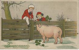 Bonne Année 'enfants En Rouge - Et Cochon) Voyagé 1911 - Nouvel An