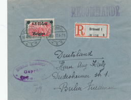 DDW595 - Enveloppe Recommandée TP Germania OC 25 BRUSSEL Vers BERLIN - Censure BXL - WW I