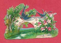 924 -  DECOUPIS GAUFFRE PONT RUISSEAU FLEURS HIRONDELLES 8 CM SUR 5.5 CM . SCANS RECTO VERSO - Flowers
