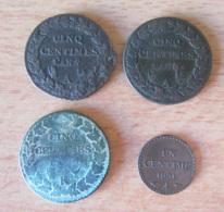 France - 4 Monnaies : 5 Centimes Dupré An 7/5 A, An 8/7 A Et An 8 K + 1 Centime 1851 A - France