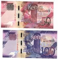 Kenya Lot Set 50 & 100 Shillings 2019 UNC - Kenia