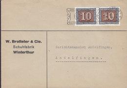 Switzerland W. BRATTELER & Cie. Schuhfabrik Slogan Flamme WINTERTHUR 1945 ANDELFINGEN 2x Waffenstillstand Stamps - Briefe U. Dokumente
