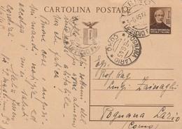 CARTOLINA POSTALE REPUBBLICA SOCIALE ITALIANA VIAG. 6/6/45 DA TORINO A POGNANA LARIO - Italia