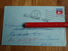 Enveloppe  DESTINATAIRE PARTI 1967 Hôtel Des 4 Fontaines Rome - Autres