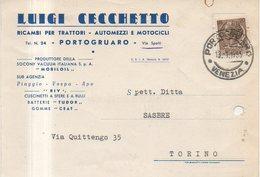 PORTOGRUARO - LUIGI CECCHETTO - RICAMBI PER TRATTORI AUTOMEZZI E MOTOCICLI - 1955 - Venezia (Venice)