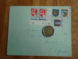 Enveloppe  Avec Timbres Armoiries Et Bord De Feuille 16.5.1966 - Autres