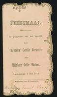 FEESTMAAL  HUWELIJK 1933 TE LAPSCHEURE   2 SCANS  14 X 7.5 CM - Menus