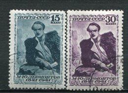 RUSSIE -  Yv N° 843,844  (o)  Poète Lermontov   Cote  25  Euro  BE 2 Scans - 1923-1991 URSS
