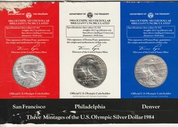 Three Mintage Of The U.S. Olympic Silver Dollar 1984 Uncirculated Frappe S, P, Et D, - Federal Issues