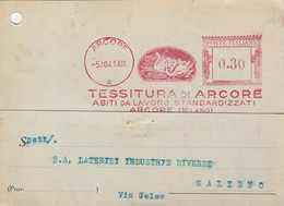 Arcore. 1941. Affrancatura Mecanica Rossa TESSITURA DI ARCORE, Su Cartolina Postale - Marcofilia - EMA ( Maquina De Huellas A Franquear)
