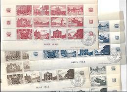 4 Blocs ,Paris,monuments;Aide Aux Artistes 48 Vignettes** De Couleurs Brun Foncé, Bleu,rouge ,verte - Unclassified