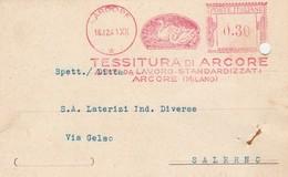 Arcore. 1941. Affrancatura Mecanica Rossa TESSITURA DI ARCORE, Su Cartolina Postale - Machine Stamps (ATM)