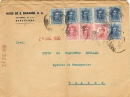 35817. Carta 11 Portes BARCELONA  1930 A Blanes. Espectacular Franqueo - 1889-1931 Reino: Alfonso XIII