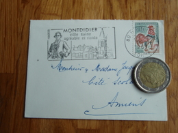 Petite Enveloppe Timbrée Au Coq De Décaris   + Flamme De MONTDIDIER - Autres