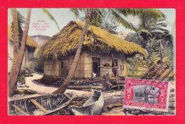 E-Panama-08A99  SAN MIGUEL ISLAND, Native Huts, Cpa Colorisée BE - Panama