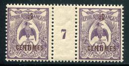 NOUVELLE CALEDONIE - N° 113 MILLÈSIME 7 , CHARNIÈRE CENTRALE - TB - Nouvelle-Calédonie