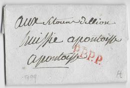 1799 (AN 7) - LETTRE PORT-PAYE De PARIS SUP ! => PONTOISE - 1701-1800: Précurseurs XVIII