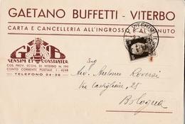 Cartolina Postale  Pubblicitaria - Postcard /  Viaggiata - Sent /  Gaetano Buffetti - Viterbo. - Publicidad