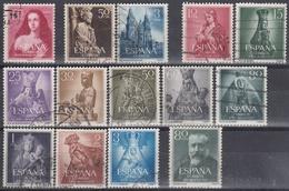 ESPAÑA 1954 Nº 1129/1142 AÑO COMPLETO USADO 14 SELLOS - Spagna