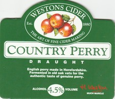 WESTONS CIDER (MUCH MARCLE, ENGLAND) - COUNTRY PERRY DRAUGHT - PUMP CLIP FRONT - Letreros