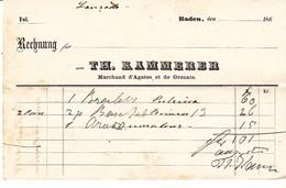 Facture Allemagne Baden Baden 1865 Th Kammerer Marchand Agates Et Grenats - Deutschland