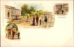 Lithographie London City, Zoological Gardens, Zoologischer Garten, Elefant, Löwen, Kraniche, Tuck Nr 22 - Animals