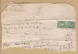 Oblit. () Paire De 5c Vert Napoléon Empire Français Sur Fragment De Lettre - 1849-1876: Classic Period