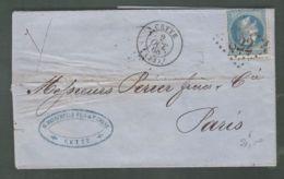 """Oblit. () Cachet Losange Gros Chiffres """"822"""" """"Cette"""" Sur Napoléon Lauré 20c Bleu - 2 Oct. 1868 - Storia Postale"""