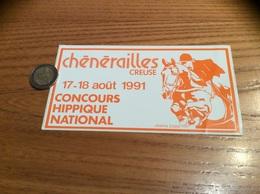 AUTOCOLLANT, Sticker «CONCOURS HIPPIQUE NATIONAL - 1991 - Chénérailles (23) » (Cheval) - Pegatinas