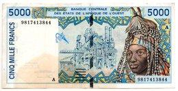 Afrique De L'Ouest  /   5000 Francs 1998  / TB Mais Taché - Banconote