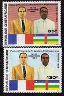 Centrafricaine  N° 696 / 97 XX Anniversaire De La Visite Du Président Mitterrand,  Les 2 Valeurs Sans Charnière TB - Centrafricaine (République)