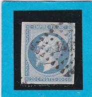N° 14A F Bleu Laiteux   PC  1495  LE HAVRE   ( 74 )  SEINE INFre  - REF 14615 - 1853-1860 Napoléon III