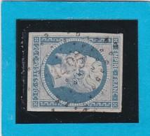 N° 14A F Bleu Laiteux   PC  1495  LE HAVRE   ( 74 )  SEINE INFre  - REF 14615 - 1853-1860 Napoleon III
