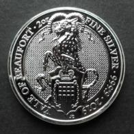 United Kingdom, Queen's Beasts 2 Oz 2019 Silver 9999 Yale Of Beaufort - 2 Once Argento Puro Bullion UK England - Gran Bretagna