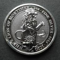United Kingdom, Queen's Beasts 2 Oz 2020 Silver 9999 White Lion Of Mortimer - 2 Once Argento Puro Bullion UK England - Gran Bretagna