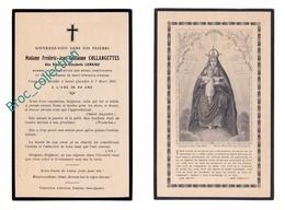 Houdain, Clermont-Ferrand, Beaurieu, Saint-Quentin, Mémento Mme Collangettes, Née Eléonore Elisabeth Lemaire, 7/03/1931 - Images Religieuses