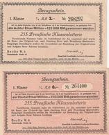 Lotterie-Bezugsscheine / 2 R.M. Und 6 R.M., Preussische Klassenlotterie (AF54) - Billets De Loterie
