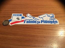 """AUTOCOLLANT, Sticker """"J'aime La Plongée - FFESSM"""" (Fédération Française D'Etudes Et De Sport Sous-Marins (Dauphin) - Pegatinas"""