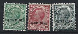 Oltre Giuba, Italian Occ. Scott #  3-5 MLH. King Victor Emmanuel III. 1925 - Oltre Giuba